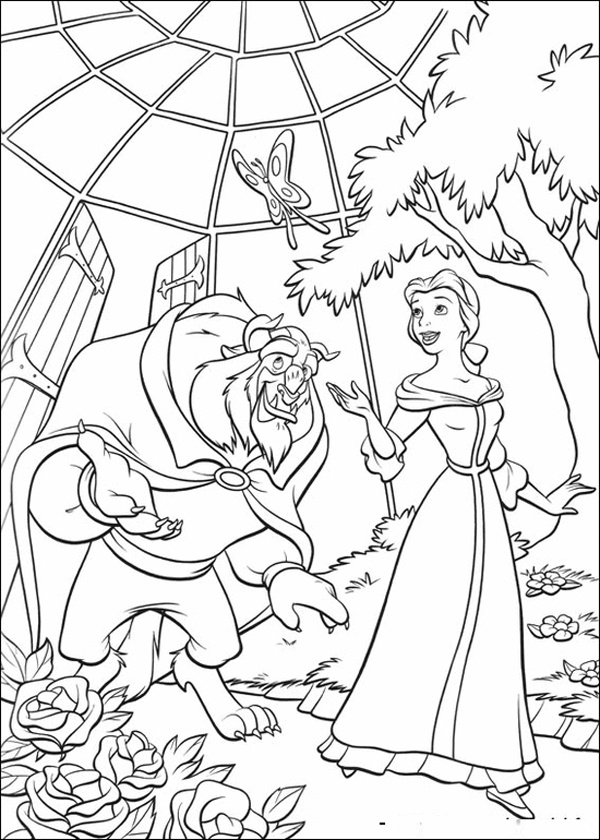 Disney Princess Beauty and The Beast Coloring Pages in Park