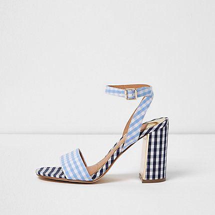 Blue gingham print block heel sandals $90.00