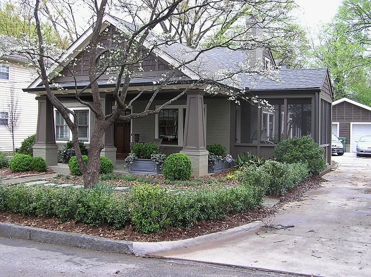 AFTER 1A: Remodel Ideas, Screens Porches, 1910 Bungalows, Cottages Exterior, House Colors, Bedrooms Decor, Craftsman Bungalows, Bedrooms Ideas, Green Remodel