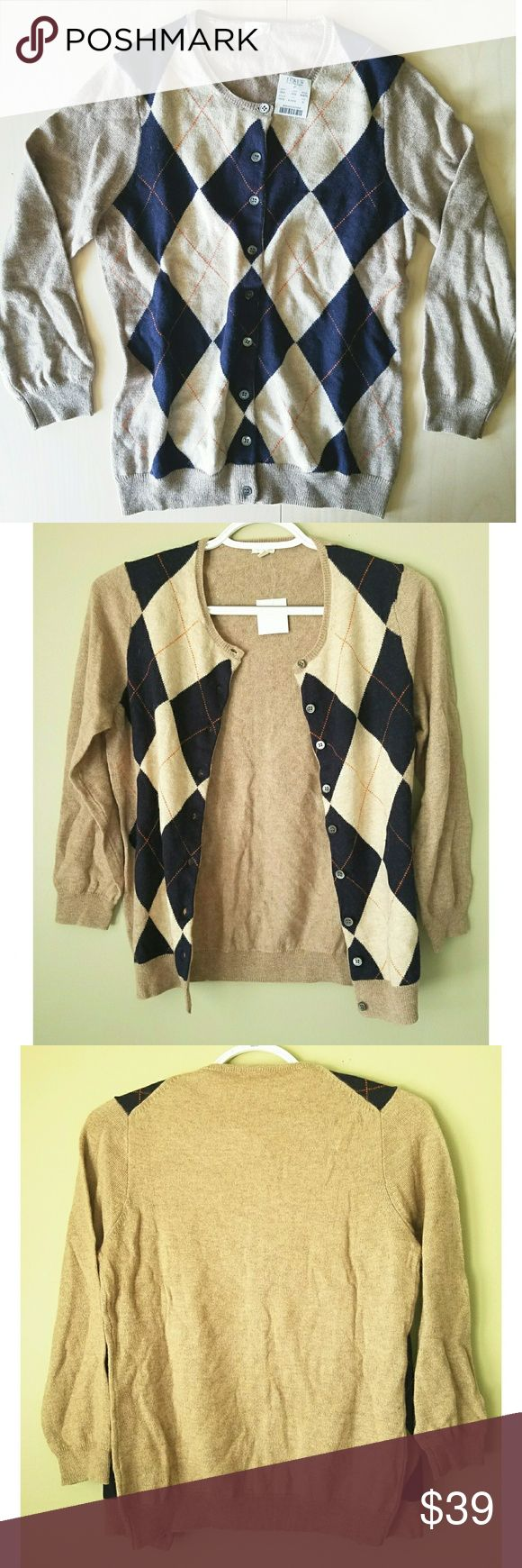 NWT J. Crew Factory Argyle Sweater Size Small Chic J. Crew Factory argyle sweater featuring brown, navy blue, and orange colors. Perfect for fall! I pictured it open and closed as it can also be worn as a cardigan. Pair with a plain white tee or navy blue tee with jeans and canvas shoes or heels to dress it up! Approximate measurements pictured in last photo to ensure accurate sizing! J. Crew Factory Tops Button Down Shirts