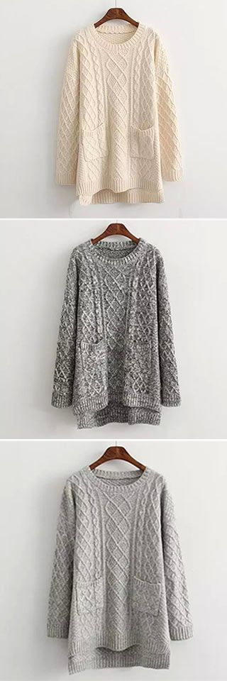 Don't worry about rainy cold day anymore.You have got it! The Pocket Sweater is made in beige,light grey and dark grey and features twist pattern, two pockets and long style design. Keep you warm all the fall at CUPSHE.COM