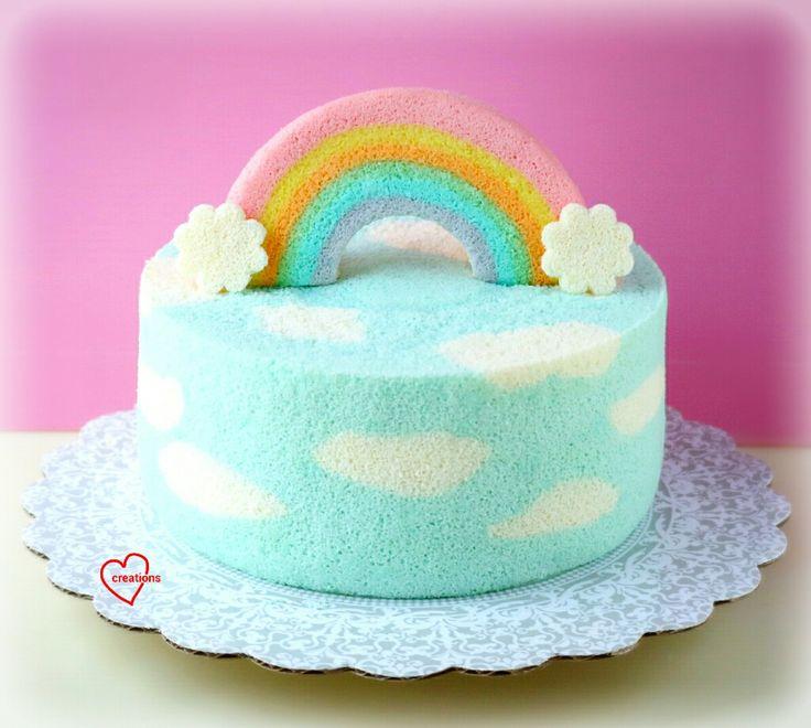 Doraemon Chiffon Cake, Rainbow Cloud Chiffon Cake