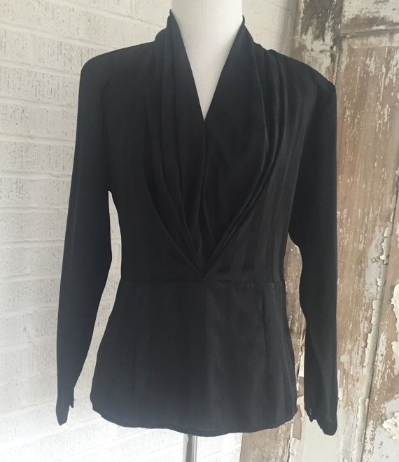 Vintage Black Draped Front Blouse Size 6 Long by BirchEdenVintage