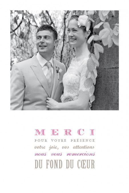 Carte de remerciement de mariage le plus beau jour (4 photos) by Marion Bizet pour www.rosemood.fr
