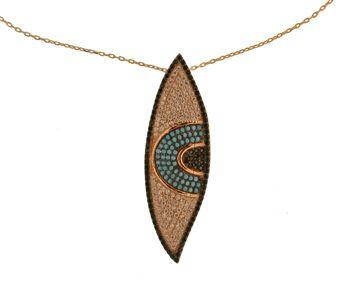 Handmade evil eye necklace, made of pink gold plated silver 925o with turquoise, white and black zirconia - Χειροποίητο ασημένιο κολιέ μάτι από ροζ επιχρυσωμένο ασήμι 925ο με τυρκουάζ, λευκά και μαύρα ζιργκόν