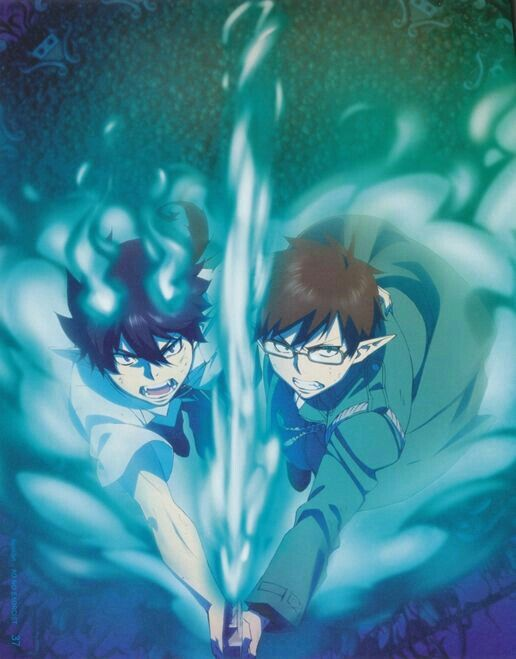 Rin, Yukio, Okumura twins, brothers, blue flames, flames of Satan; Blue Exorcist