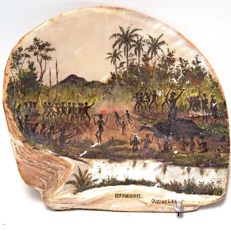 Coastal Queensland Aboriginal Painted PEARL SHELL with Corroboree Dance Scene