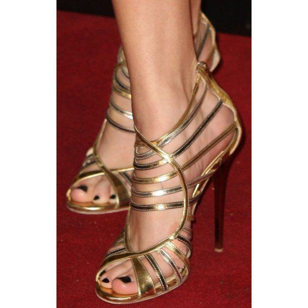 Gold Evening Shoes Strappy Sandals Open Toe Stiletto Heels image 2