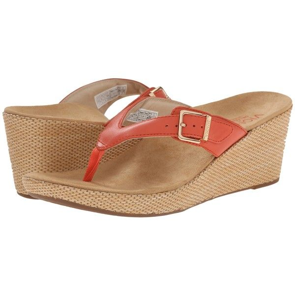 VIONIC Polina (Coral) Women's Wedge Shoes ($65) ❤ liked on Polyvore featuring shoes, sandals, coral, platform wedge sandals, slip on sandals, slip on wedge sandals, wedge heel sandals and platform slide sandals