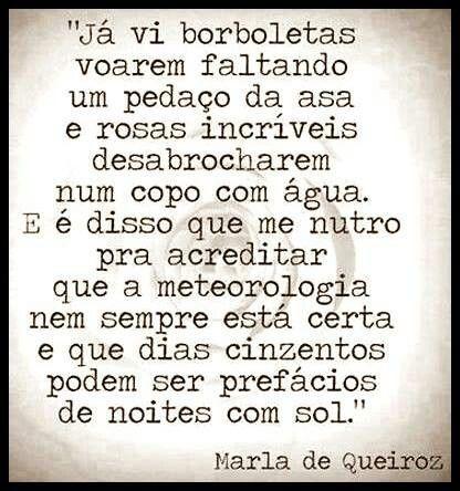 """""""Dias cinzentos podem ser prefácio de noites com Sol"""" #sabedoria #Borboletas #MariaDeQueiroz"""