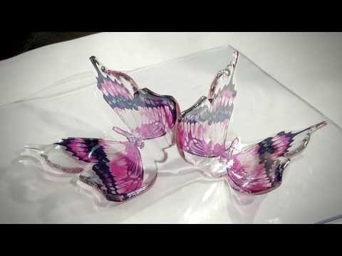 Come fare Farfalle in zucchero Isomalto trasparente con serigrafia - YouTube