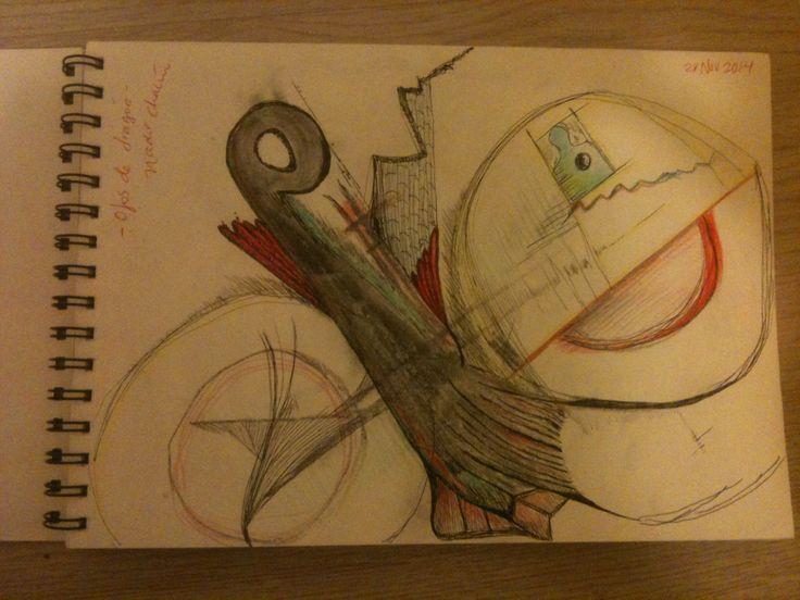 """""""Ojos de dragón"""" by #NadirChacin #50dibujos50dias #50Drawings50days #Drawings [Segart, Valencia, 28 nov., 2014]"""