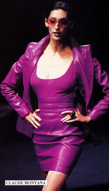 Designer Leather Fashions Gorgeous purple leather skirt suit from Claude Montana from late 80s early 90s… The leather on this suit is amazing… I owned this in black