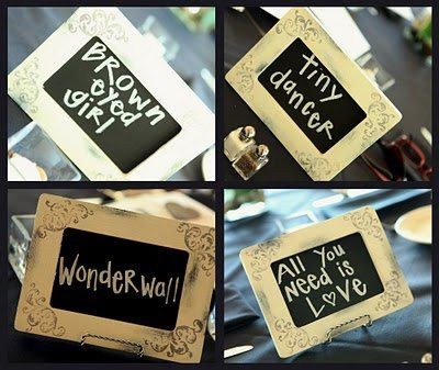 Each table has a song name- when the song is played, the table gets up to get dinner! Cute idea!