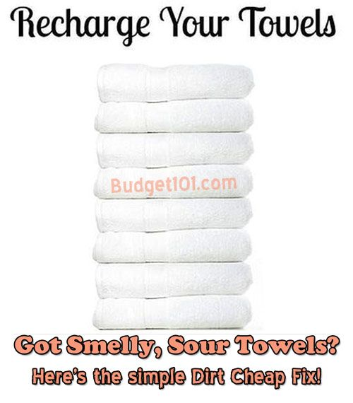 How to Strip Smelly Towels 1st load 1c white vinegar in hot water 2nd load 1/2c baking soda in hot water