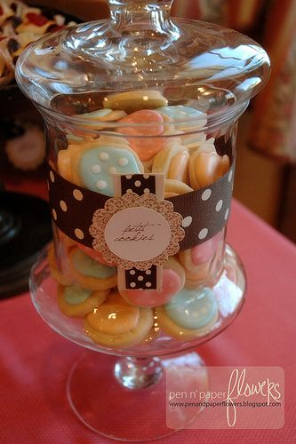 mini french bakery themed party - cute display on the jar