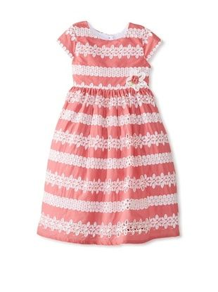 53% OFF Laura Ashley Girl's Eyelet Stripe Dress (Coral)
