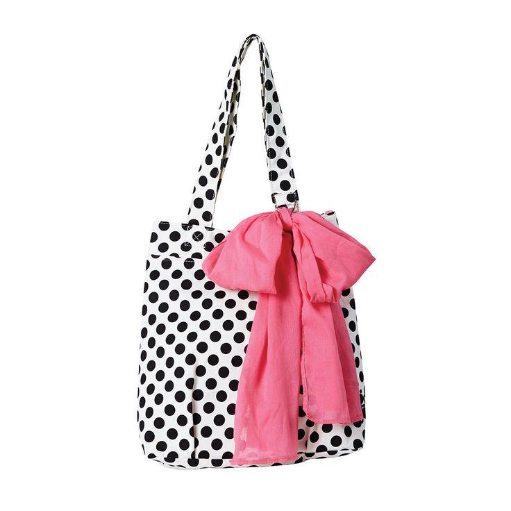 Cream and Black Polka Dot Tote Bag