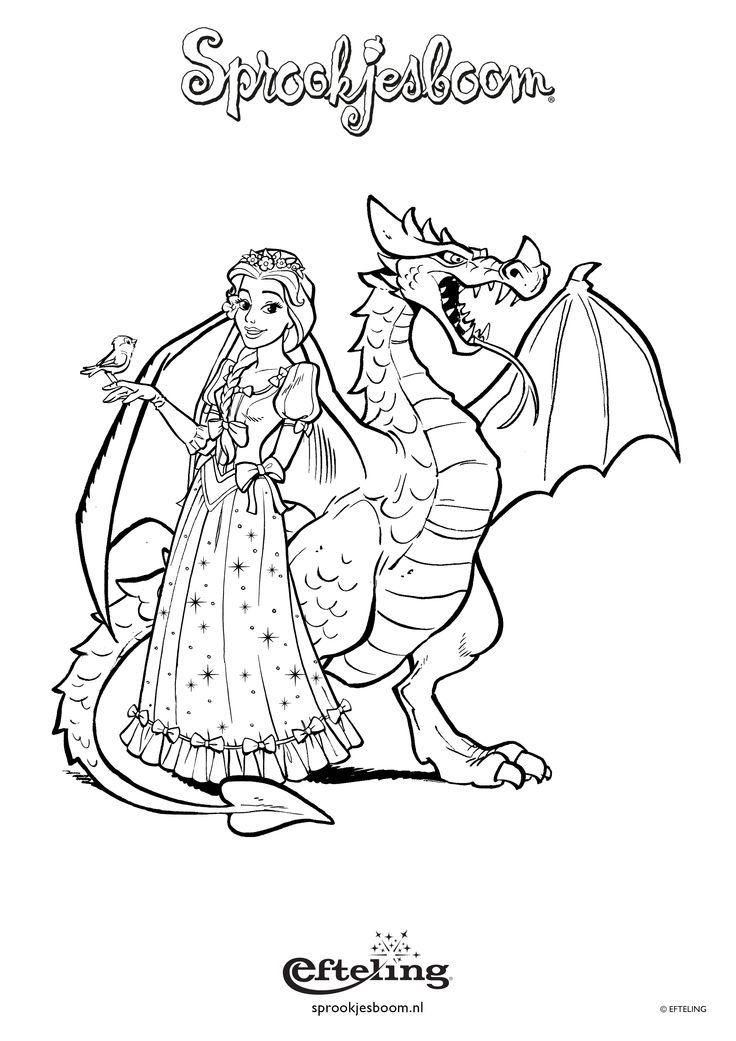 Sprookjesboom kleurplaat met Assepoester en Draak