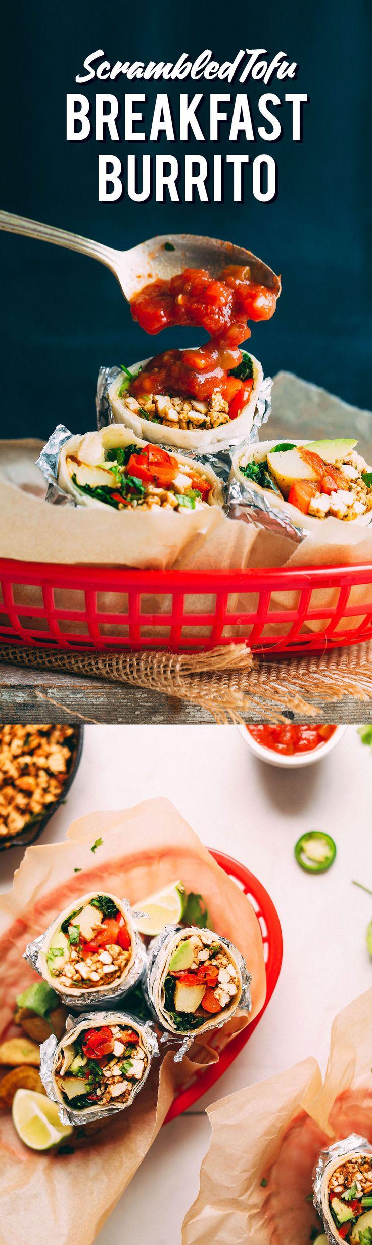 30-minute vegan breakfast burrito with scrambled tofu, roasted vegetables, avocado, kale, and salsa