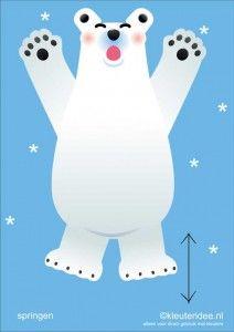 Bewegingskaarten ijsbeer voor kleuters 7, springen , kleuteridee.nl, thema Noorpool, Movementcards for preschool,  free printable.