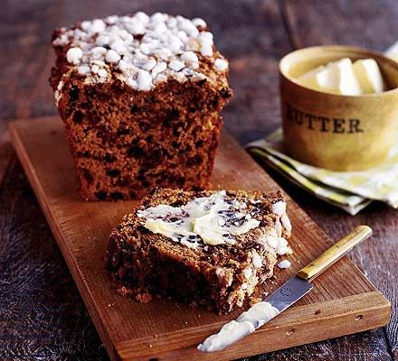Sugar-crusted Bara Brith.  This is a great recipe, but I would use a lot less marmalade (less than 1/2 the suggested amount, I reckon), or else you will not be able to enjoy the subtlety of the tea flavoring.