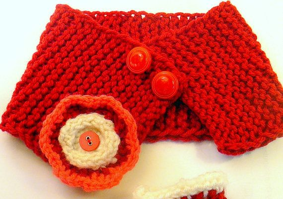 Red and White Hand Knitted Cowl/ Scarf/ Neck by HandmadeTrend, $14.00