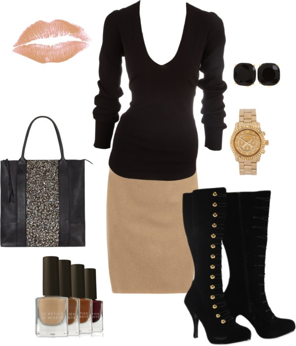"""Tan Pencil Skirt"" by kimberly-woods on Polyvore"