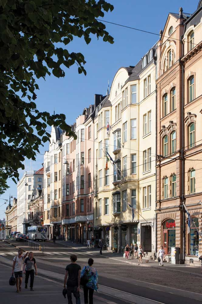 Historic facades along Erottajankatu, across from Diana park.