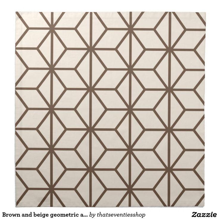 Brown and beige geometric art deco pattern napkin