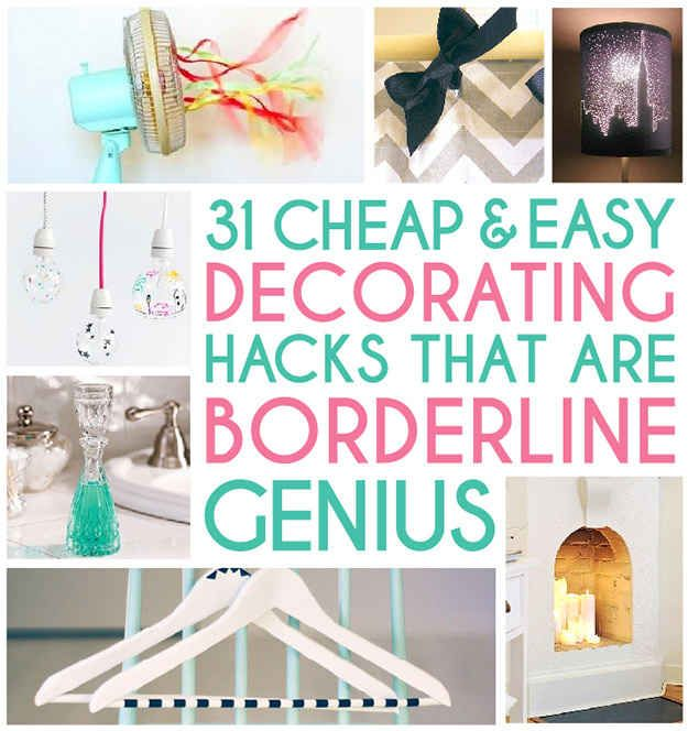 31 Home Decor Hacks That Are Borderline Genius - BuzzFeed Mobile...several good ideas: big cheap pictures, lampshades, curtain tie-backs, empty book for router...