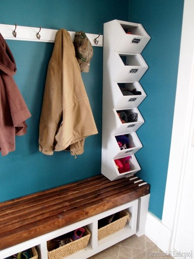 A stack of bins fits easily into a skinny space. Not only do they help organize your many scarves and mittens — they also add interest to an otherwise boring wall. See more at Sawdust and Embryos »  - GoodHousekeeping.com