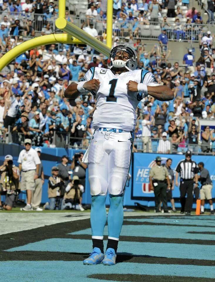 #Cam_Newton of the #Carolina_Panthers doing his #Superman pose #NFL #Football