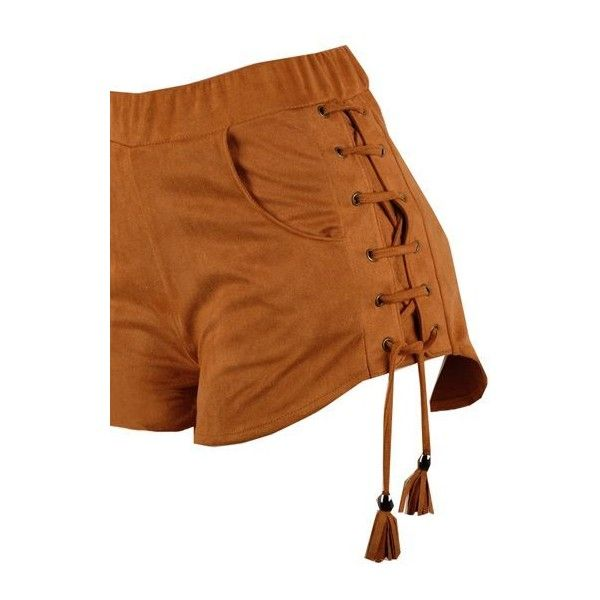 Tassel Embellished Brown Elastic Waist Shorts ($26) ❤ liked on Polyvore featuring shorts, bottoms, pant, brown, elasticated waist shorts, elastic waistband shorts, brown shorts, print shorts and patterned shorts