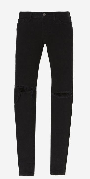 a267cc29a05a Men s Ripped Skinny Biker Jeans Boy Destroyed Frayed Slim Fit Black Denim  Pants Men