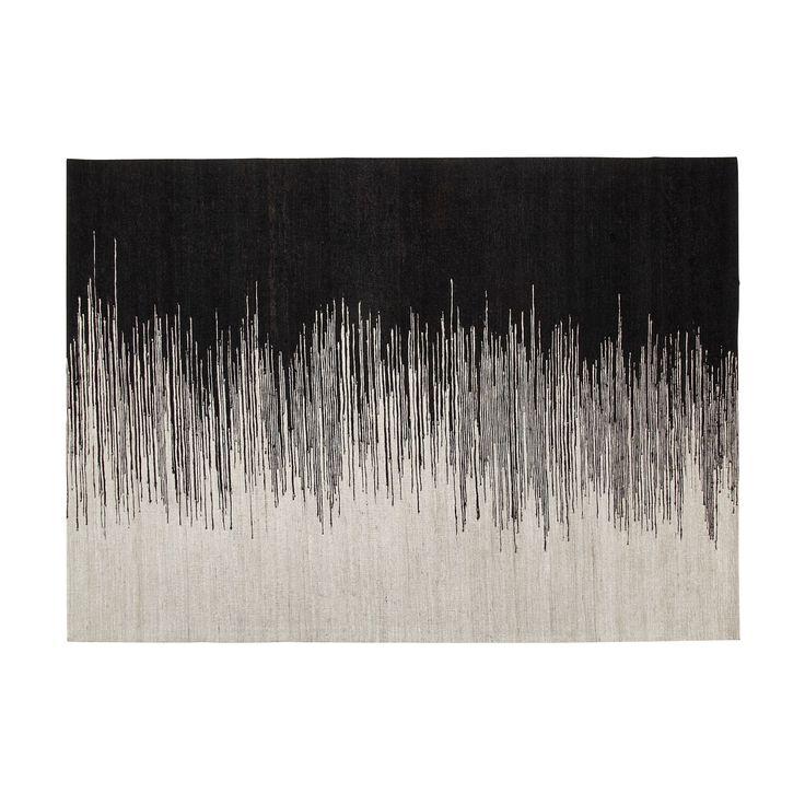 tapis tiss 140x200cm noir et blanc appache les tapis. Black Bedroom Furniture Sets. Home Design Ideas