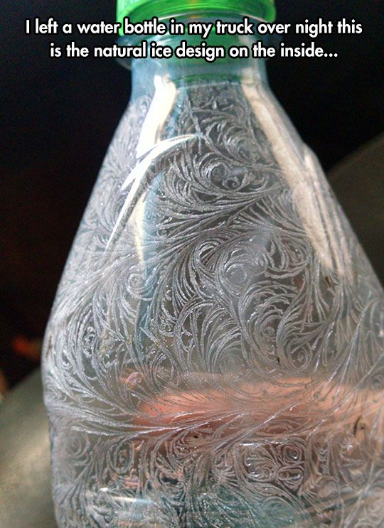 Frozen Humidity Within The Bottle Make Interesting Designs