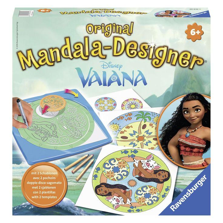 Maak de moosite Vaiana mandala's met deze uitgebreide Mandala designer set van Ravensburger. Leg het papier in de sjabloon, draai de sjabloon van pijl naar pijl en kleur je zelfontworpen mandala in. Met de 2 sjablonen maak je oneindig veel unieke mandala's. In de set vind je een frame, een grote mandala sjabloon, een kleine mandala sjabloon, 10 vellen papier, een viltstift en 3 kleurpotloden. Afmeting: verpakking 26 x 26 x 5 cm - Mandala Designer 2in1 - Vaiana