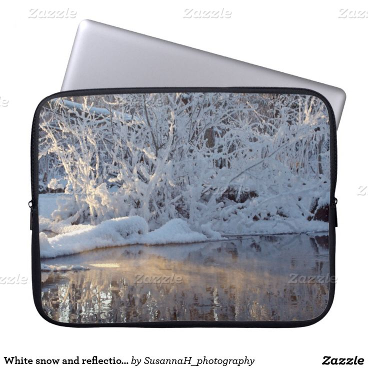 White snow and reflections on winter pond laptop computer sleeve