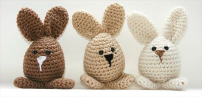 Handmade Crochet Easter Rabbit Toys on Etsy. Cuteness!
