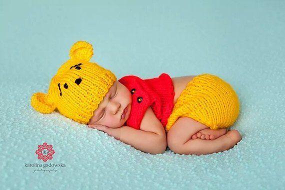 49c10be475ab Newborn knit Winnie the Pooh set, Newborn Winnie the Pooh outfit, baby  winnie the pooh outfit,   Products   Baby, Newborn photos, Baby disney