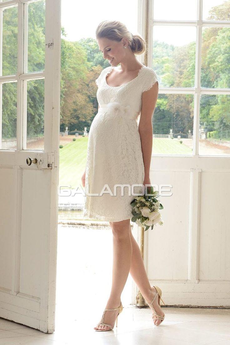 Robe de mariée courte avec dentelle manche courte grande-taille