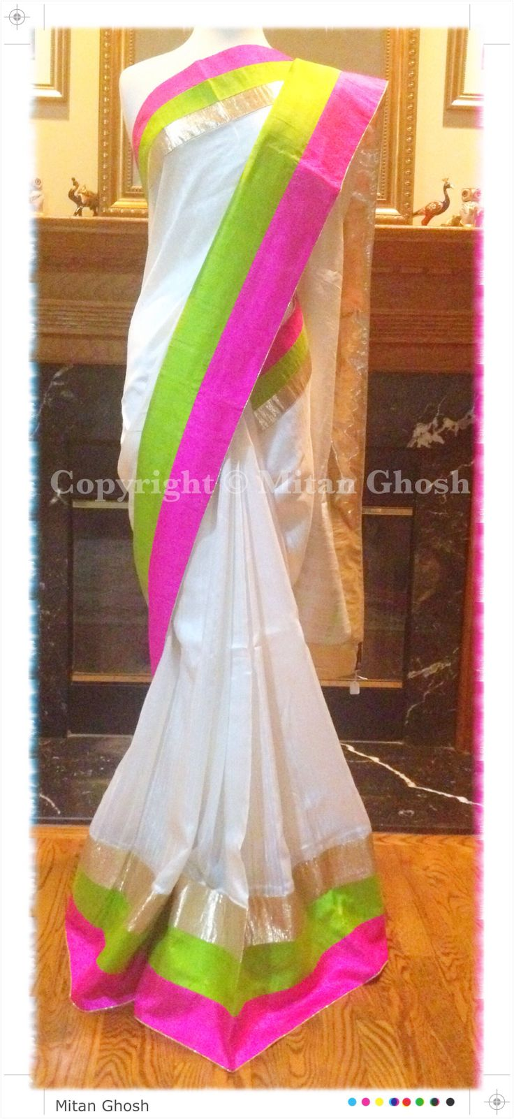 Raw Silk Saree with Multi Color border.
