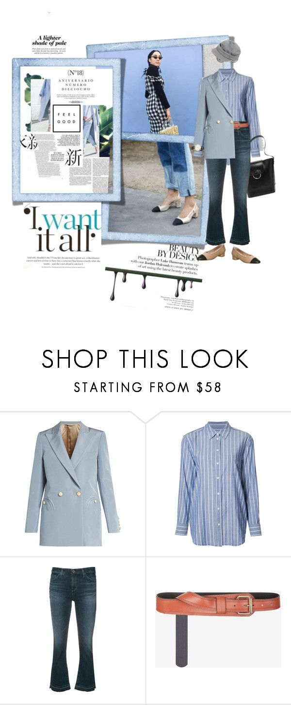 """A lighter shade of blue"" by peeweevaaz ❤ liked on Polyvore featuring Blazé Milano, Equipment, AG Adriano Goldschmied, BCBGMAXAZRIA, outfit, officewear, polyvoreeditorial and polyvorefashion"
