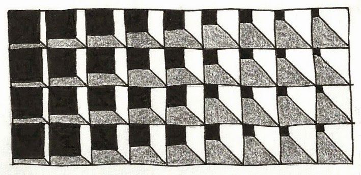 Cubens zentangle pattern - shading & scale, by Margaret Bremner. She expands much more on this basic pattern in her blog post. #doodle