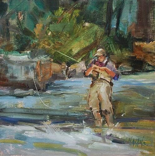 """""""Balancing Act - fly fishing and other plein air pursuits"""" - Original Fine Art for Sale - © Mary Maxam"""