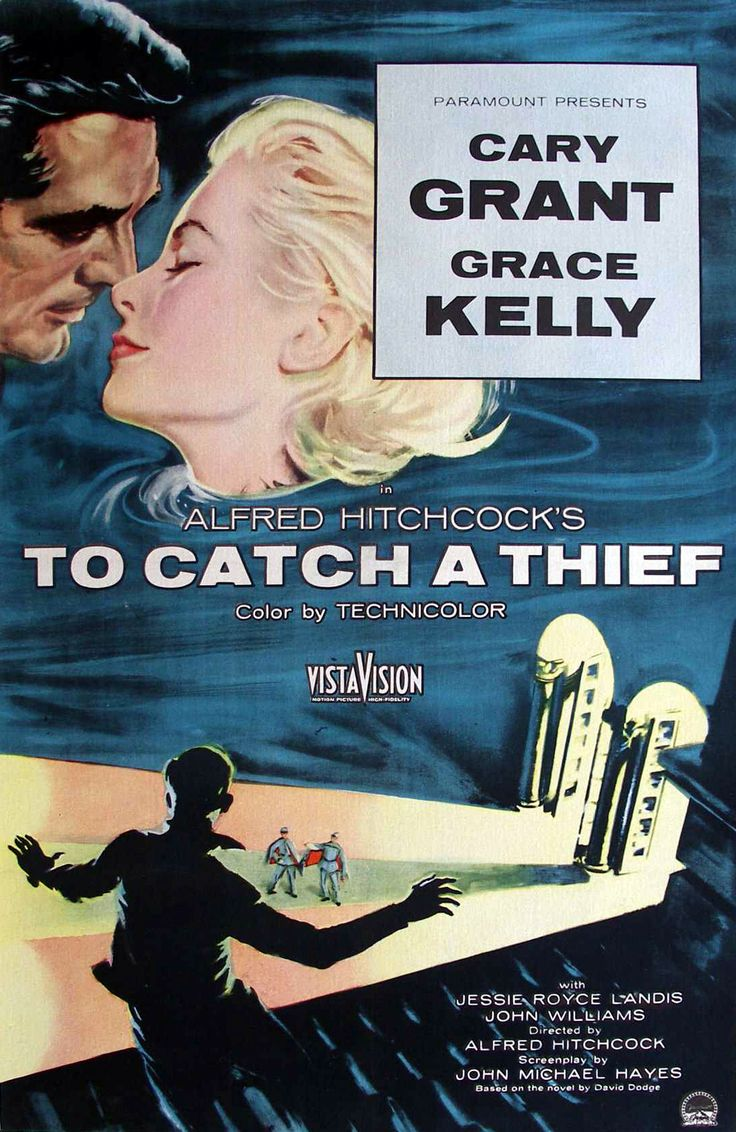 To catch a thief alfred hitchcock movie poster print home theater decor or movie poster art cary grant grace kelly