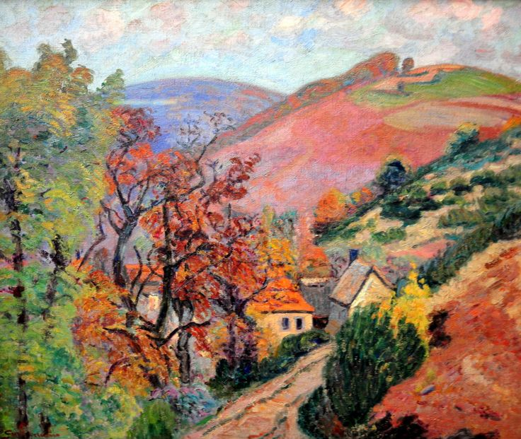 Mountain Landscape - Pontgibaud, village in Peschadoire, Armand Guillaumin Medium: oil on canvas