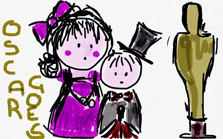 Notte degli Oscar. Mondi di Thalia & Zeno. Disegni di Georgia Conte. Copyright Georgia Conte