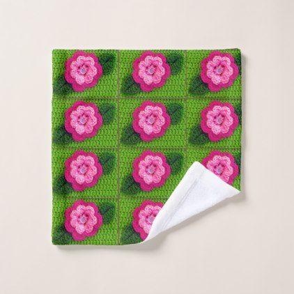 Hot Pink Flowers Nature Green Crochet Print on Wash Cloth - flower print gifts floral idea giftideas